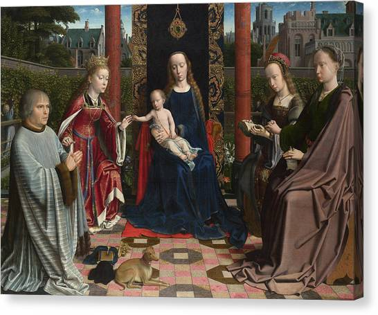Early Christian Art Canvas Print - The Virgin And Child With Saints And Donor by Gerard David