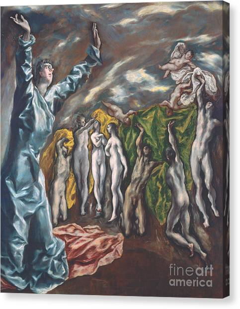 Apparition Canvas Print - The Vision Of Saint John by El Greco