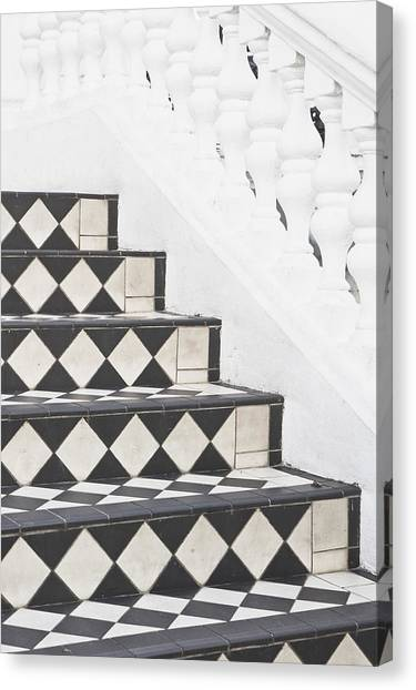 Chequered Canvas Print - Tiled Steps by Tom Gowanlock