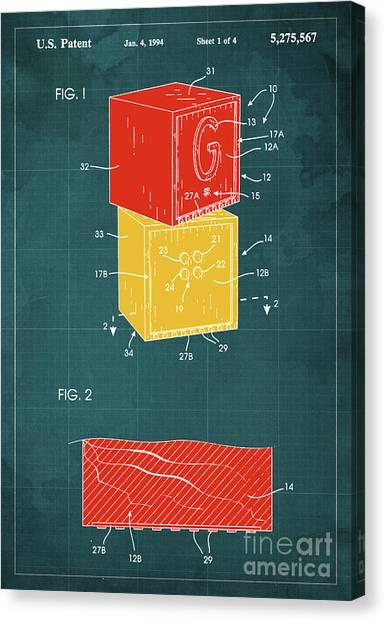 Bricks Canvas Print - Toy Building Brick Patent Year 1958 Blueprint by Drawspots Illustrations