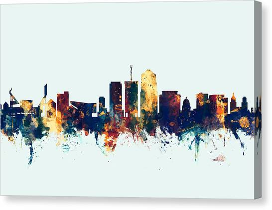 Pac 12 Canvas Print - Tucson Arizona Skyline by Michael Tompsett