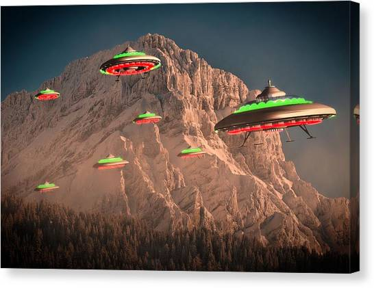 Ufo Canvas Print - Ufo Invasion Force By Raphael Terra by Raphael Terra