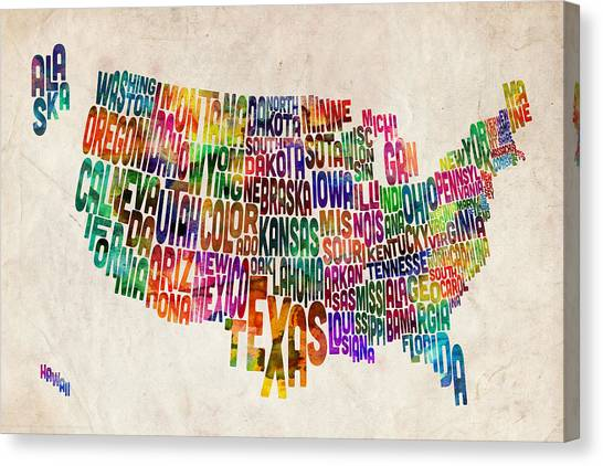 Text Canvas Print - United States Text Map by Michael Tompsett