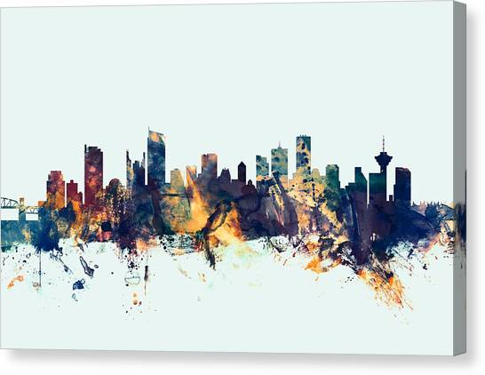 Canada Canvas Print - Vancouver Canada Skyline by Michael Tompsett