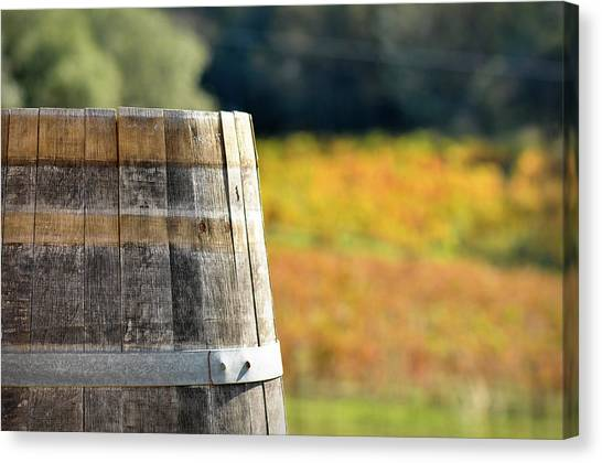 Wine Barrel In Autumn Canvas Print