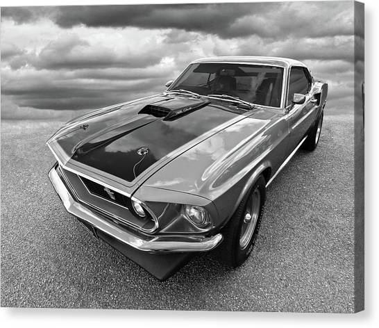 428 Cobra Jet Mach1 Ford Mustang 1969 In Black And White Canvas Print