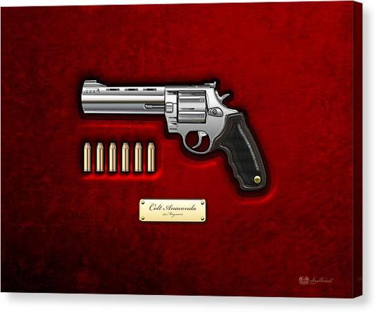 Decor Canvas Print - .44 Magnum Colt Anaconda On Red Velvet  by Serge Averbukh