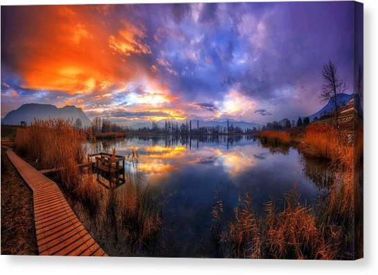 Lake Sunrises Canvas Print - Lake by Jackie Russo
