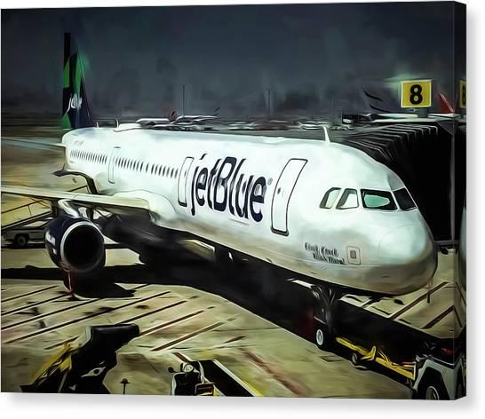 Jetblue Canvas Print - Jetblue @ New York City by Michelle Saraswati