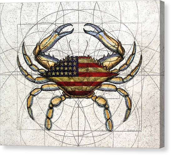 Crabs Canvas Print - 4th Of July Crab by Charles Harden