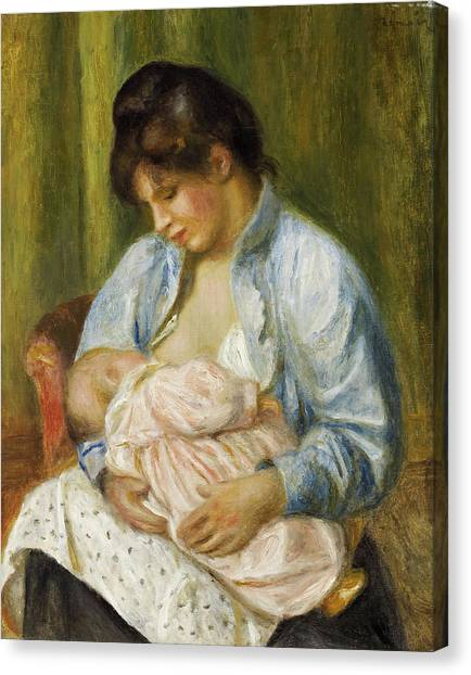 Nursing Canvas Print - A Woman Nursing A Child by Pierre-Auguste Renoir