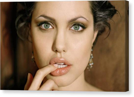 Toothbrush Canvas Print - Angelina Jolie by Jackie Russo