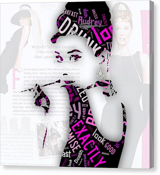 Hepburn Canvas Print - Audrey Hepburn Breakfast At Tiffany's Quotes by Marvin Blaine