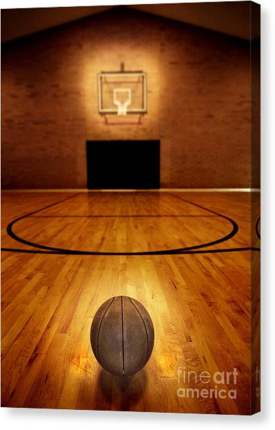 Three Pointer Canvas Print - Basketball And Basketball Court by Lane Erickson