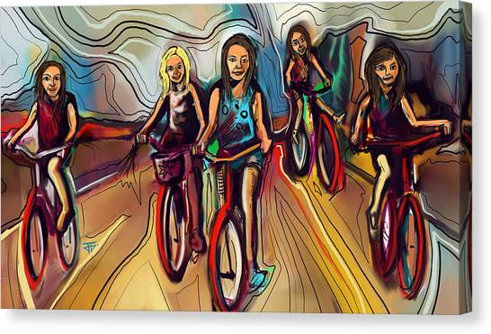 5 Bike Girls Canvas Print