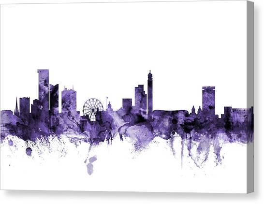 Birmingham Canvas Print - Birmingham England Skyline by Michael Tompsett