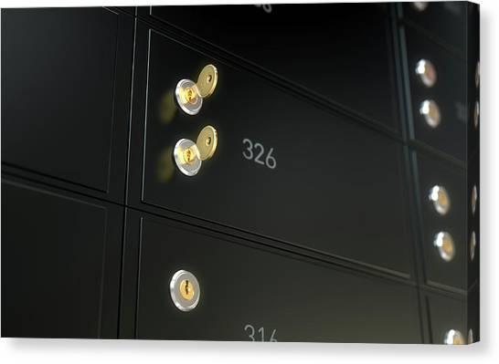 Vault Canvas Print - Black Safe Deposit Box Wall by Allan Swart
