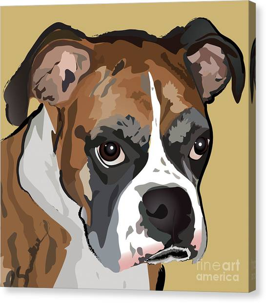 Boxer Dog Portrait Canvas Print
