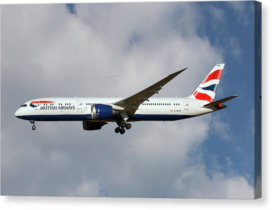 Airlines Canvas Print - British Airways Boeing 787-9 Dreamliner by Smart Aviation