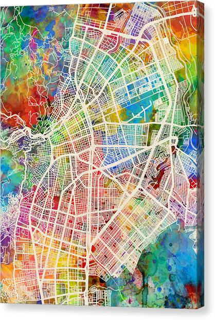 Colombian Canvas Print - Cali Colombia City Map by Michael Tompsett