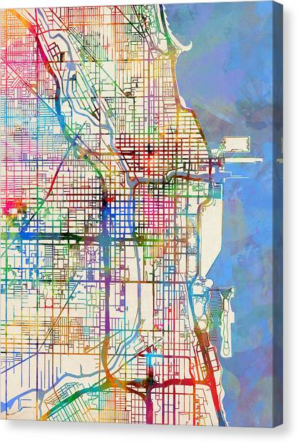 University Of Illinois Canvas Print - Chicago City Street Map by Michael Tompsett