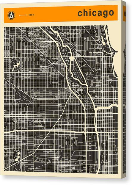 Chicago Canvas Print - Chicago Map by Jazzberry Blue