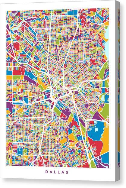 Dallas Canvas Print - Dallas Texas City Map by Michael Tompsett