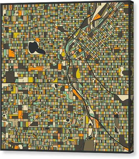 Denver Canvas Print - Denver Map by Jazzberry Blue