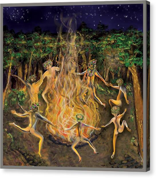 Canvas Print featuring the painting Dancing Naked In The Forest Cd Cover by Thomas Lupari