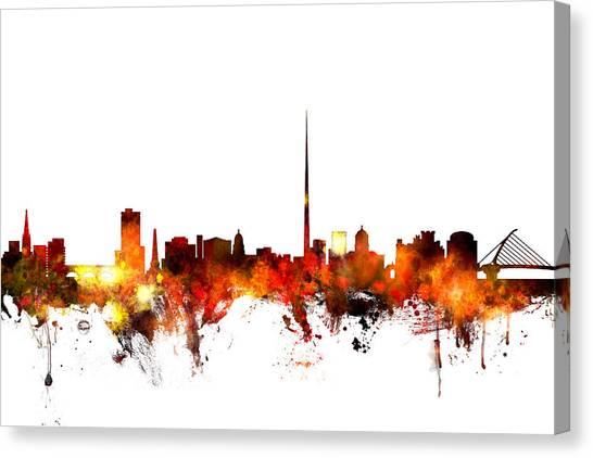 Dublin Canvas Print - Dublin Ireland Skyline by Michael Tompsett