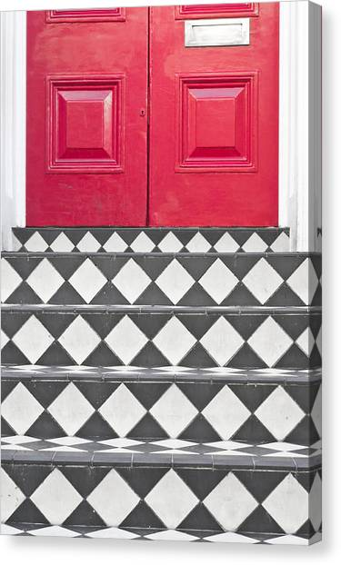 Chequered Canvas Print - Entrance Steps by Tom Gowanlock