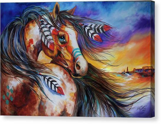 War Horse Canvas Print - 5 Feathers Indian War Horse by Marcia Baldwin