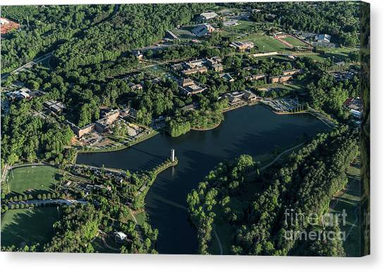 Kappa Sigma Canvas Print - Furman University Campus Aerial by David Oppenheimer