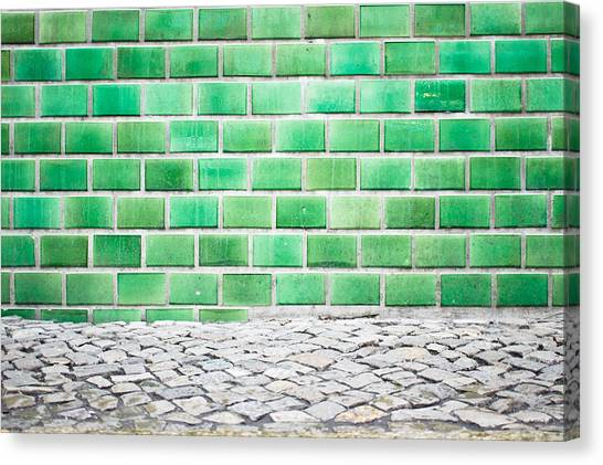 Ceramic Glazes Canvas Print - Green Tiles by Tom Gowanlock