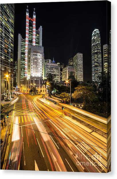 Hong Kong Night Rush Canvas Print