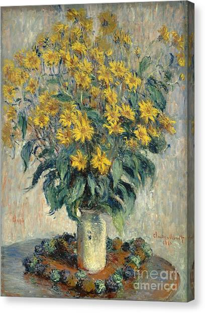 Artichoke Canvas Print - Jerusalem Artichoke Flowers by Claude Monet