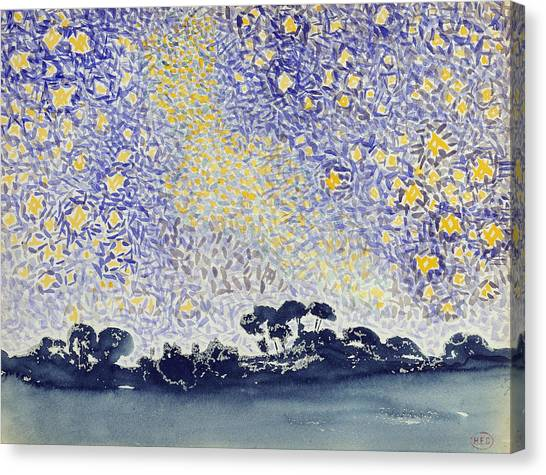 Divisionism Canvas Print - Landscape With Stars by Henri-Edmond Cross
