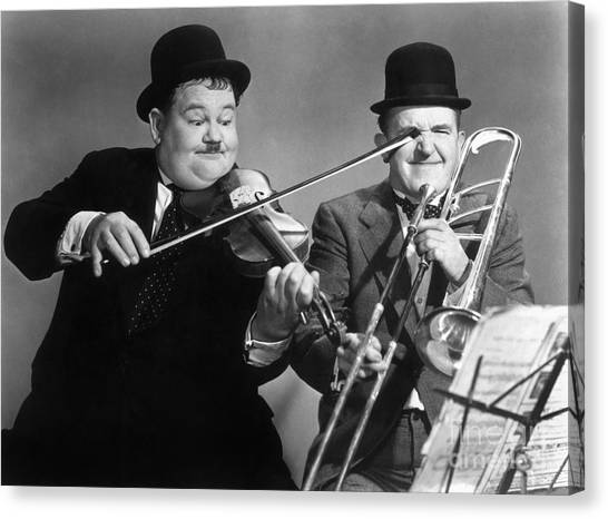 Trombone Canvas Print - Laurel And Hardy by Granger