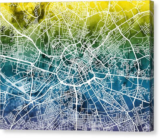 Manchester United Canvas Print - Manchester England Street Map by Michael Tompsett