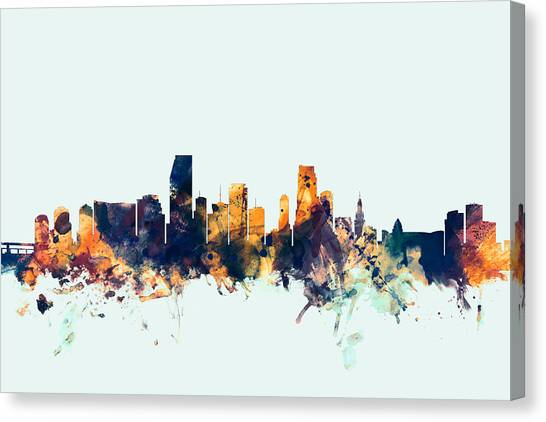 Miami Skyline Canvas Print - Miami Florida Skyline by Michael Tompsett