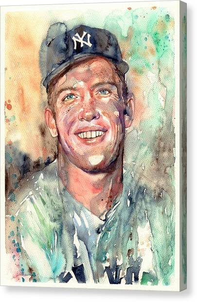 Patriot League Canvas Print - Mickey Mantle Portrait by Suzann's Art