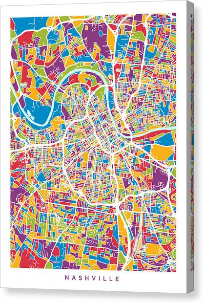 Nashville Canvas Print - Nashville Tennessee City Map by Michael Tompsett