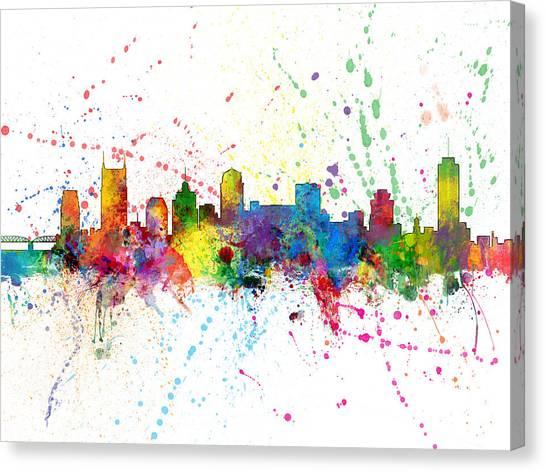 Nashville Skyline Canvas Print - Nashville Tennessee Skyline by Michael Tompsett