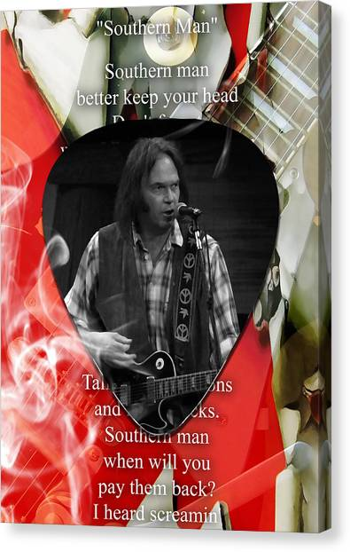 Celebrity Canvas Print - Neil Young Art by Marvin Blaine