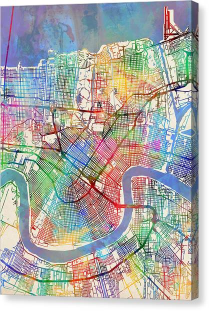 Louisiana Canvas Print - New Orleans Street Map by Michael Tompsett