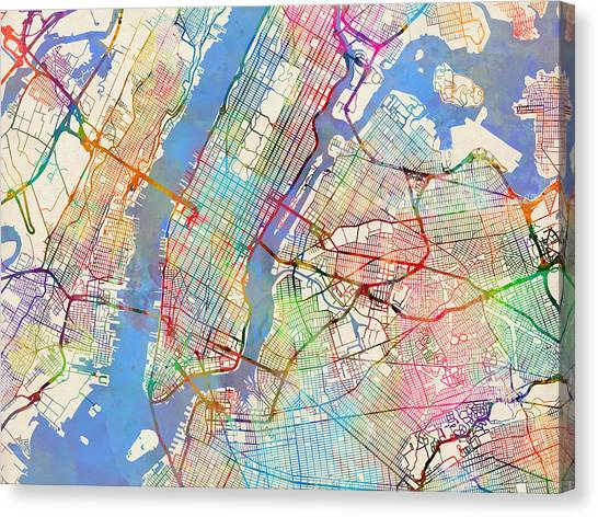 Queens Canvas Print - New York City Street Map by Michael Tompsett