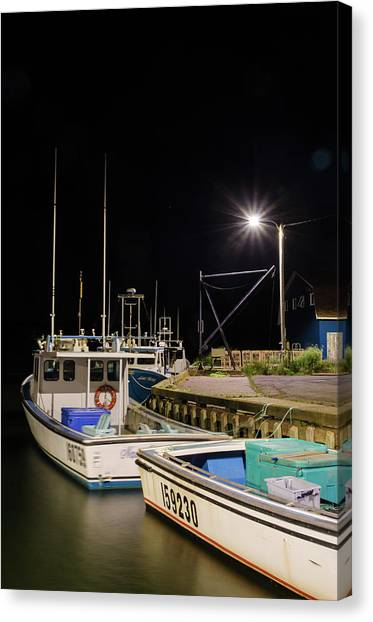 Canvas Print featuring the photograph Nightime On The Wharf. by Rob Huntley