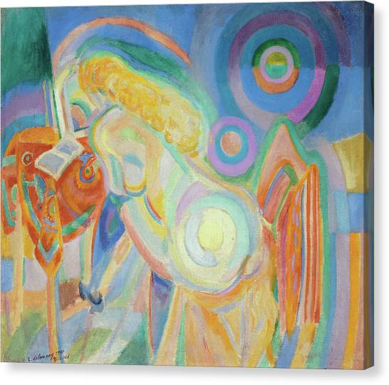Lyrical Abstraction Canvas Print - Nude Woman Reading by Robert Delaunay