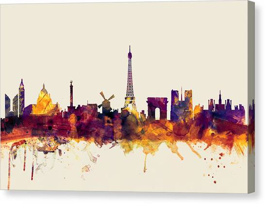 Paris Canvas Print - Paris France Skyline by Michael Tompsett