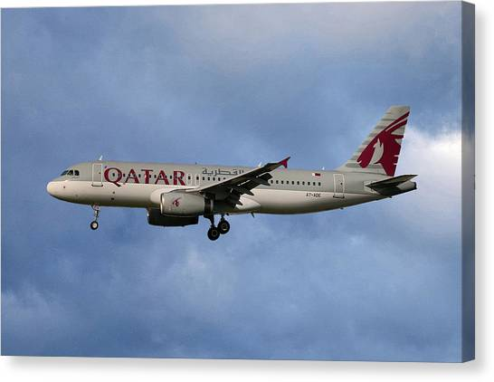 Jets Canvas Print - Qatar Airways Airbus A320-232 by Smart Aviation